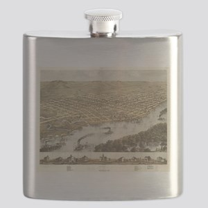 Vintage Pictorial Map of La Crosse WI (1867) Flask