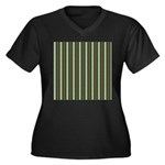 Green Pattern 002 Women's Plus Size V-Neck Dark T-