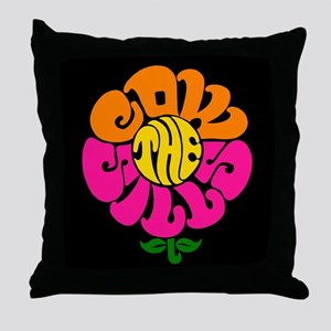 Cowsills Flower Logo (on black) Throw Pillow