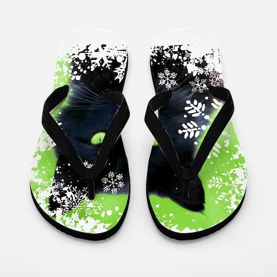BLACK CAT & SNOWFLAKES Flip Flops