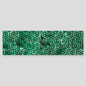 HEXAGON1 BLACK MARBLE & GREEN MAR Sticker (Bumper)