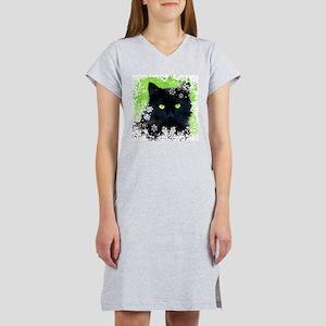 BLACK CAT & SNOWFLAKES Women's Nightshirt