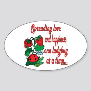 Spreading Love Ladybugs Oval Sticker