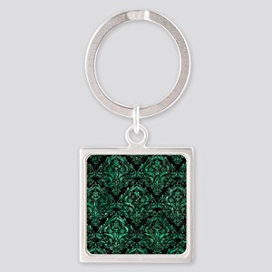 DAMASK1 BLACK MARBLE & GREEN MARBL Square Keychain