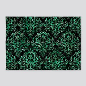 DAMASK1 BLACK MARBLE & GREEN MARBLE 5'x7'Area Rug
