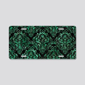 DAMASK1 BLACK MARBLE & GREE Aluminum License Plate