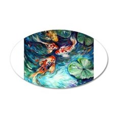 Koi Fish and Water lilies Flowers Wall Decal