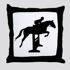 Hunter Jumper Over Fences Throw Pillow