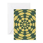 Green Pattern 001 Greeting Cards (Pk of 10)
