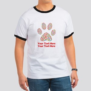 Dog Paw Print Customize Ringer T