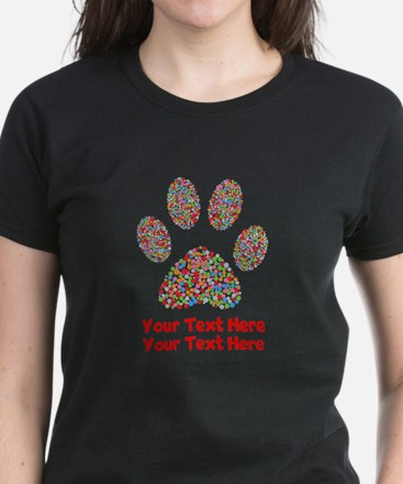 Dog Paw Print Customize Women's Dark T-Shirt