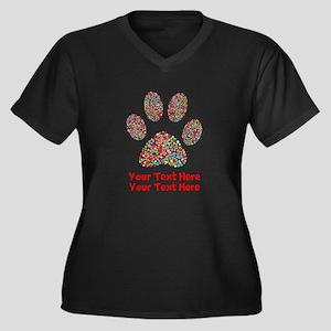 Dog Paw Prin Women's Plus Size V-Neck Dark T-Shirt