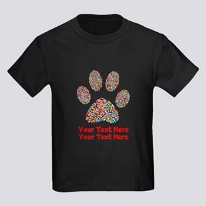 Dog Paw Print Customize Kids Dark T-Shirt