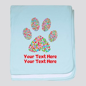 Dog Paw Print Customize baby blanket
