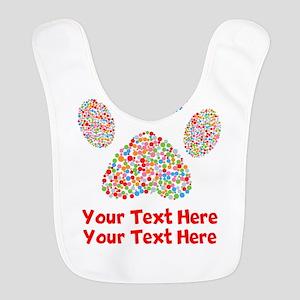 Dog Paw Print Customize Polyester Baby Bib