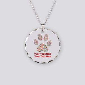 Dog Paw Print Customize Necklace Circle Charm