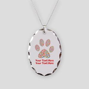 Dog Paw Print Customize Necklace Oval Charm