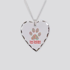 Dog Paw Print Customize Necklace Heart Charm
