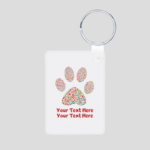 Dog Paw Print Customize Aluminum Photo Keychain
