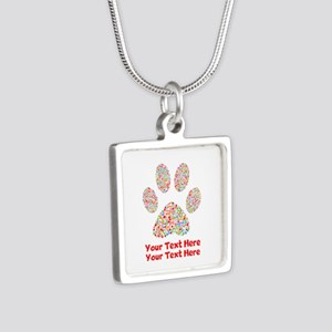 Dog Paw Print Customize Silver Square Necklace