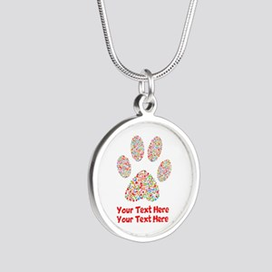 Dog Paw Print Customize Silver Round Necklace