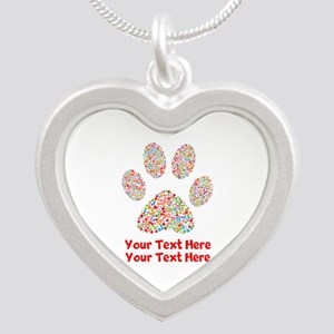 Dog Paw Print Customize Silver Heart Necklace