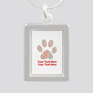 Dog Paw Print Customize Silver Portrait Necklace
