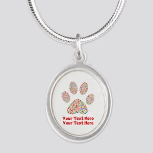 Dog Paw Print Customize Silver Oval Necklace