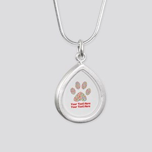 Dog Paw Print Customize Silver Teardrop Necklace