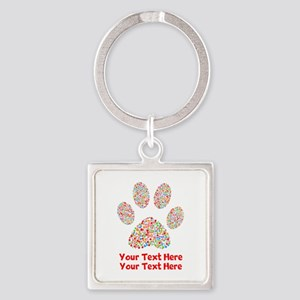 Dog Paw Print Customize Square Keychain