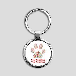 Dog Paw Print Customize Round Keychain