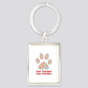 Dog Paw Print Customize Portrait Keychain