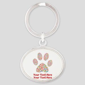Dog Paw Print Customize Oval Keychain