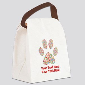 Dog Paw Print Customize Canvas Lunch Bag
