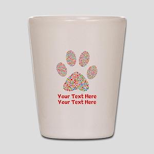 Dog Paw Print Customize Shot Glass