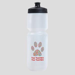 Dog Paw Print Customize Sports Bottle