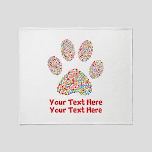 Dog Paw Print Customize Throw Blanket
