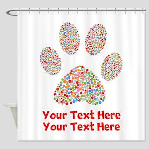 Dog Paw Print Customize Shower Curtain
