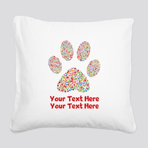 Dog Paw Print Customize Square Canvas Pillow
