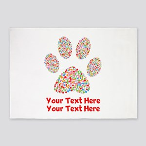Dog Paw Print Customize 5'x7'Area Rug