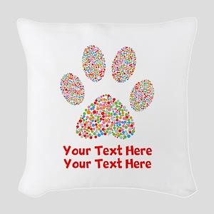 Dog Paw Print Customize Woven Throw Pillow