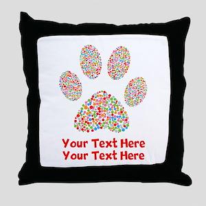Dog Paw Print Customize Throw Pillow