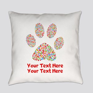 Dog Paw Print Customize Everyday Pillow