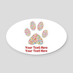 Dog Paw Print Customize Oval Car Magnet
