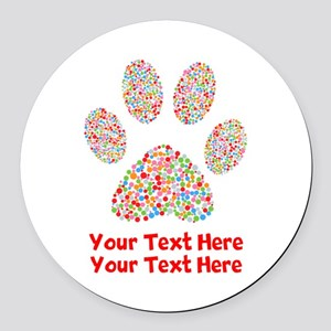 Dog Paw Print Customize Round Car Magnet