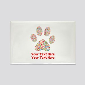 Dog Paw Print Customize Rectangle Magnet