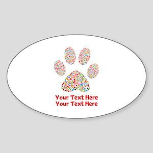 Dog Paw Print Customize Sticker (Oval)