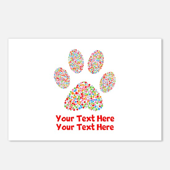 Dog Paw Print Customize Postcards (Package of 8)