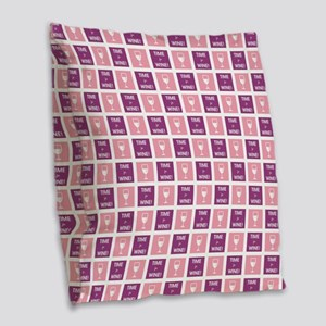 TIME FOR WINE! Burlap Throw Pillow