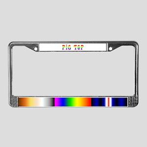 Gay Pride Pig Top License Plate Frame